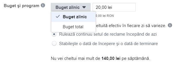 buget campanii facebook